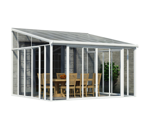 Palram SanRemo Add-a-Room, Patio Enclosure - White with Screen Doors Size - 13' x 14':Tuff Nest
