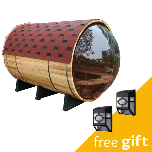 Aleko® Red Cedar Barrel Sauna with Panoramic View - 9 kW ETL Certified Heater - 7 Person:Tuff Nest