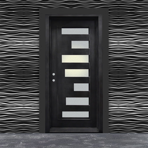 Aleko® Iron Square Top Minimalist Door with Frame and Threshold - 40 x 96 Inches - Matte Black:Tuff Nest