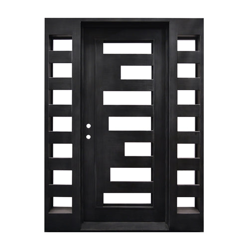 Aleko® Iron Square Top Geometric-Embossed Single Door with Frame and Threshold - 81 x 62 x 6 Inches - Matte Black:Tuff Nest