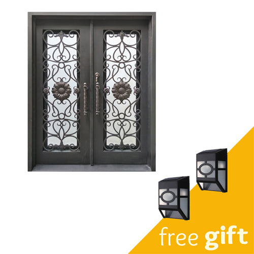 Aleko® Iron Square Top Sunflower Dual Door with Frame and Threshold - 81 x 62 x 6 Inches - Aged Bronze:Tuff Nest