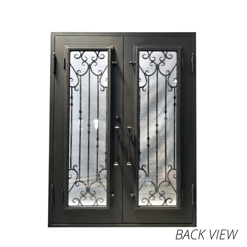 Aleko® Iron Square Top Baroque-Inspired Dual Door with Frame and Threshold - 96 x 72 x 6 Inches - Matte Black:Tuff Nest