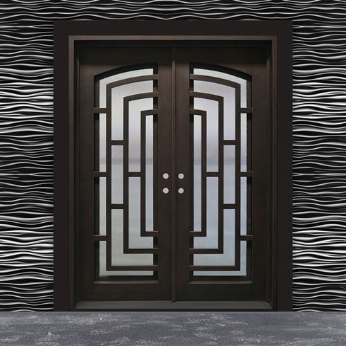 Aleko® Iron Square Top Modern Dual Door with Frame and Threshold - 96 x 72 x 6 Inches - Matte Black:Tuff Nest