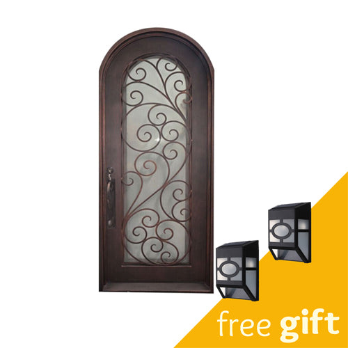 Aleko® Iron Round Top Twisted Vines Single Door with Frame and Threshold - 96 x 40 x 6 Inches - Aged Bronze:Tuff Nest
