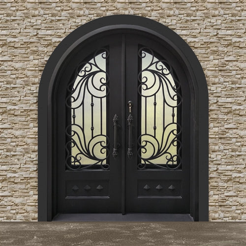 Aleko® Iron Round Top Dimensional-Panel Dual Door with Frame and Threshold - 81 x 62 x 6 Inches - Matte Black:Tuff Nest