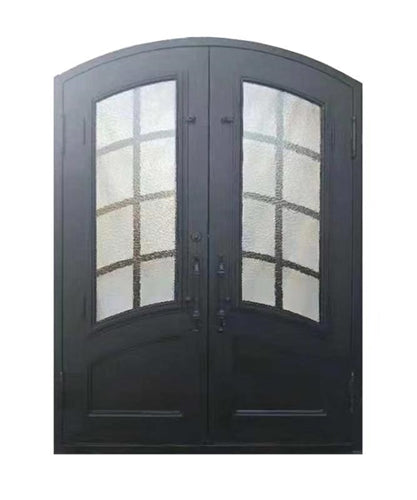 Aleko® Iron Arched Top Minimalist Glass-Panel Dual Door with Frame and Threshold - 92 x 72 Inches - Matte Black:Tuff Nest