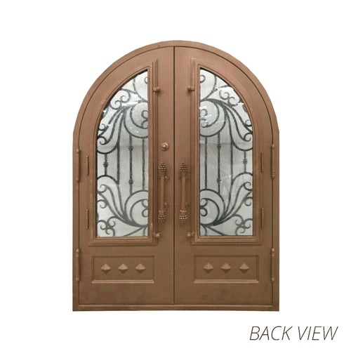 Aleko® Iron Round Top Baroque-Inspired Dual Door with Frame and Threshold - 96 x 72 x 6 Inches - Aged Bronze:Tuff Nest