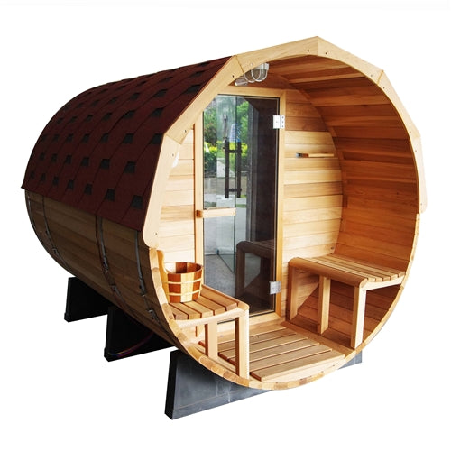 Aleko® Red Cedar Barrel Sauna with Panoramic View - 4.5 kW ETL Certified - 5 Person:Tuff Nest