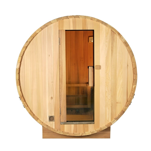 Aleko® Outdoor and Indoor White Pine Barrel Sauna - 5 Person - 4.5 kW ETL Certified Heater:Tuff Nest