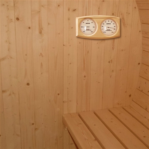Aleko® Outdoor or Indoor White Finland Pine Wet Dry Barrel Sauna - 5 Person - Front Porch Canopy - 4.5 kW ETL Certified:Tuff Nest
