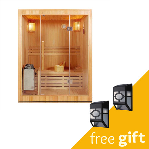 Aleko® Canadian Red Cedar Indoor Wet Dry Sauna - 3 kW ETL Certified Heater - 3 Person:Tuff Nest