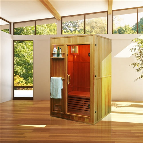 Aleko® Canadian Hemlock Indoor Wet Dry Sauna - 3 kW ETL Certified Heater - 2 Person:Tuff Nest