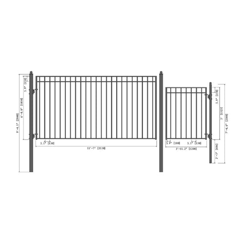 Aleko® Steel Single Swing Driveway Gate - MADRID Style - 12 ft with Pedestrian Gate - 4 ft:Tuff Nest