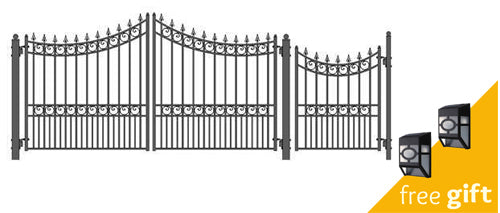 Aleko® Steel Dual Swing Driveway Gate - MOSCOW Style - 12 ft with Pedestrian Gate - 4 ft:Tuff Nest