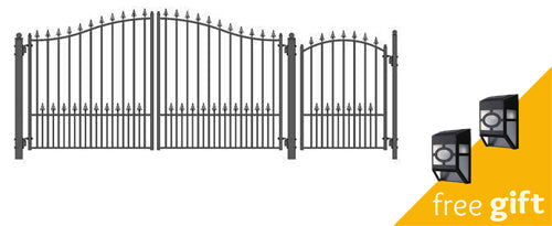 Aleko® Steel Dual Swing Driveway Gate - MUNICH Style - 12 ft with Pedestrian Gate - 4 ft:Tuff Nest