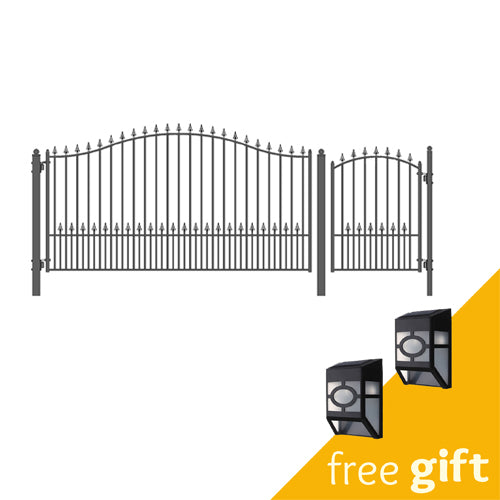 Aleko® Steel Single Swing Driveway Gate - MUNICH Style - 12 ft with Pedestrian Gate - 4 ft:Tuff Nest