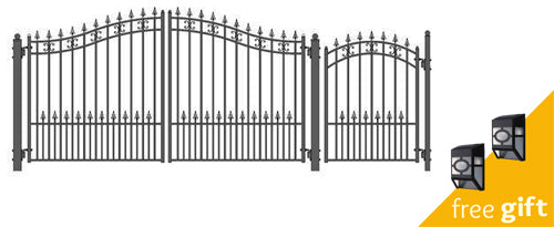 Aleko® Steel Dual Swing Driveway Gate - ST.PETERSBURG Style - 12 ft with Pedestrian Gate - 4 ft:Tuff Nest
