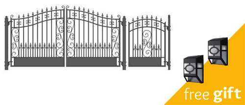 Aleko® Steel Dual Swing Driveway Gate - VENICE Style - 12 ft with Pedestrian Gate - 4 ft:Tuff Nest