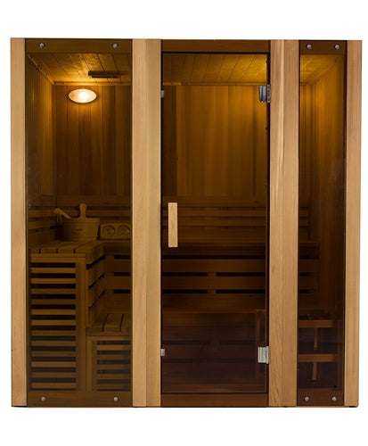 Aleko® Canadian Cedar Indoor Wet Dry Steam Room Sauna - 6 kW ETL Certified Heater - 6 Person:Tuff Nest