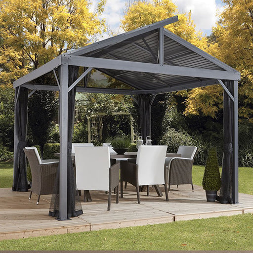 Sojag™ Sanibel II 10'x10' Sun Shelter/Gazebo With Galvanized Steel Roof and Nylon Mesh Screen:Tuff Nest