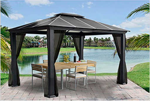 Paragon Outdoor™ Santa Monica Hard Top Gazebo with Mosquito Netting, Size - 11' x 13':Tuff Nest