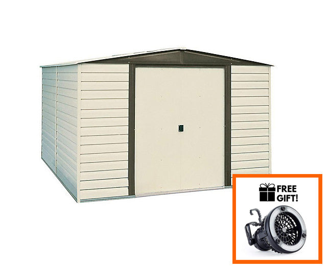 Tuff Nest, Arrow® Dallas Vinyl Coated Steel Storage Shed With Sliding Doors, {variant_title]