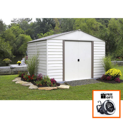 Arrow® Milford 10x12 Vinyl Coated Steel Storage Shed/Building With Sliding Doors:Tuff Nest