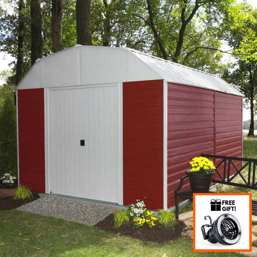 Arrow® Red Barn 10x14 Galvanized Steel Storage Shed/Building With Sliding Doors:Tuff Nest