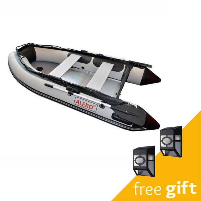 Aleko® Inflatable Boat with Aluminum Floor - 13.8 ft - Gray:Tuff Nest