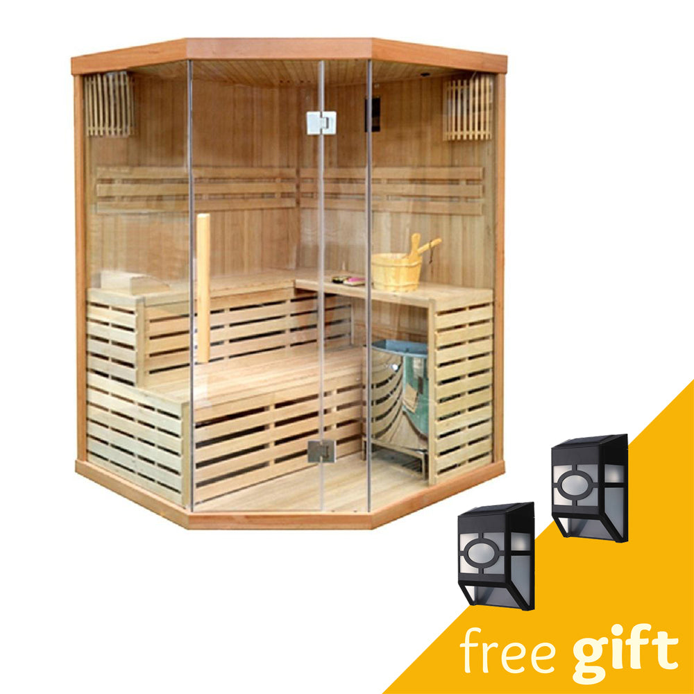Aleko® CED3CMUR 4 Person Canadian Red Cedar Wood Indoor Wet Dry Sauna with 4.5 kW ETL Electrical Heater:Tuff Nest