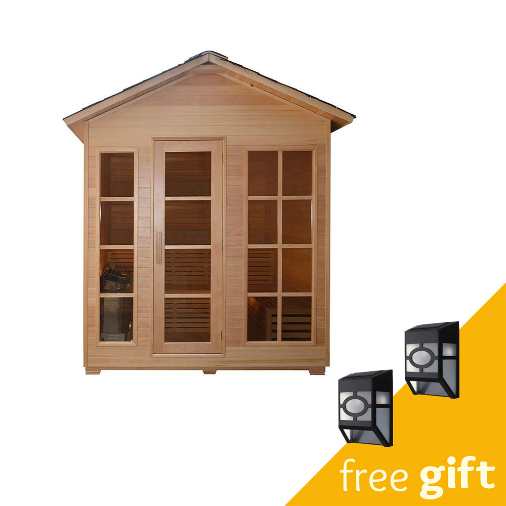 Aleko® CED6IMATRA 4 Person Canadian Red Cedar Wood Outdoor and Indoor Wet Dry Sauna with  4.5 kW ETL Electrical Heater:Tuff Nest