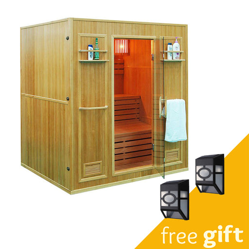 Aleko® CEDN4BUG 4 Person Canadian Red Cedar Wood Indoor Wet Dry Sauna with 4.5 kW ETL Electrical Heater:Tuff Nest
