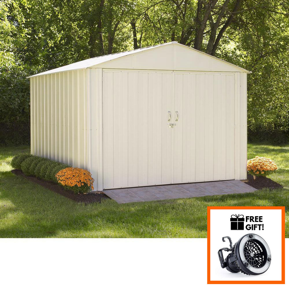 Tuff Nest, Arrow® Commander Steel Storage Shed 10 X 30 Ft. High Gable Galvanized, Eggshell, {variant_title]