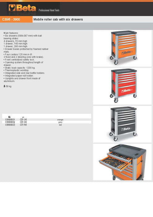 Beta Tools Mobile Roller Cabinet C39 6 Drawer:Tuff Nest
