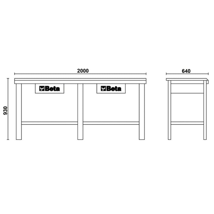 Beta Tools Steel Workbench C56 with 2 drawers:Tuff Nest