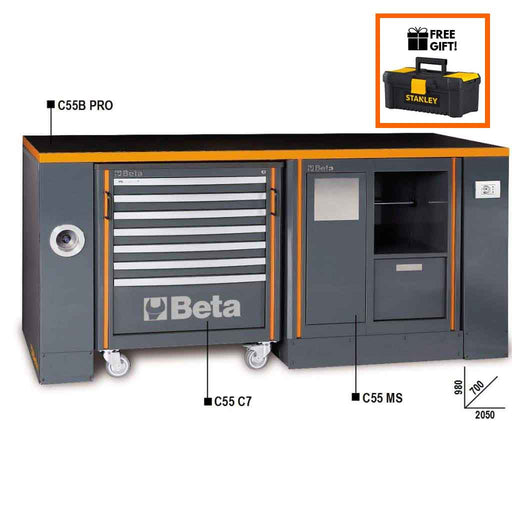 Beta Tools C55 B-PRO/4-WORKBENCH & CAB C7 + MOD. MS:Tuff Nest