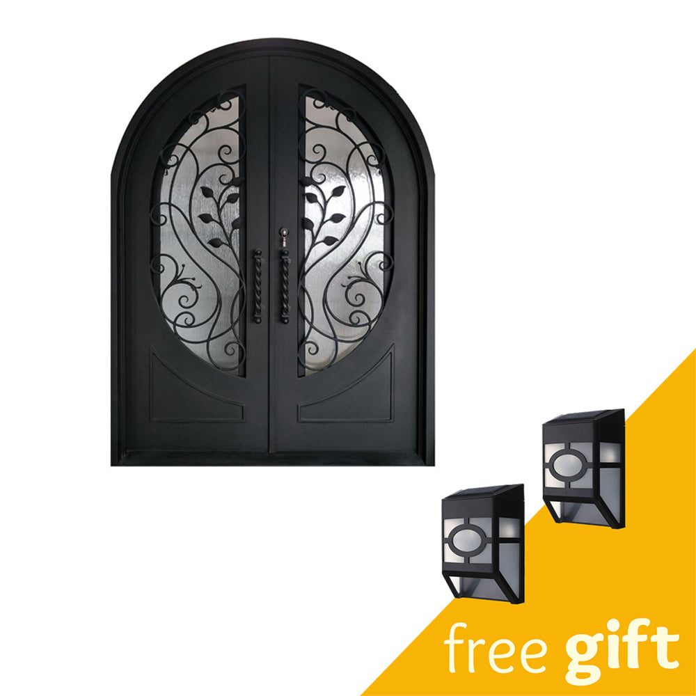 Aleko® Iron Round Top Leaf Dual Door with Frame and Threshold - 72 x 96 Inches - Matte Black:Tuff Nest