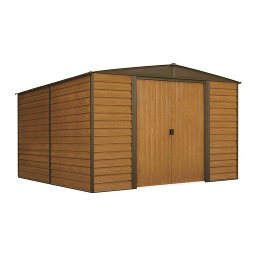 "Woodridge,10x12, Electro Galvanized Steel, Coffee / Woodgrain, Low Gable, 71.3"" Wall Height, Sliding Doors:Tuff Nest"