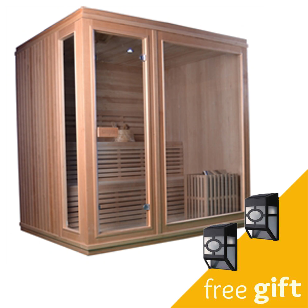 Aleko® Canadian Hemlock Indoor Wet Dry Sauna - 6 kW ETL Certified Heater - 6 Person:Tuff Nest