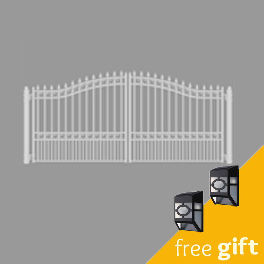 Aleko® Steel Dual Swing Driveway Gate - LONDON Style - 16 x 6 ft - White:Tuff Nest