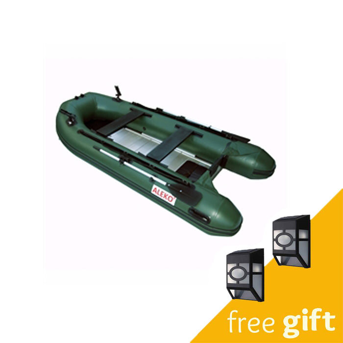 Aleko® PRO Fishing Inflatable Boat with Aluminum Floor - Front Board Holders - 10.5 ft - Green:Tuff Nest