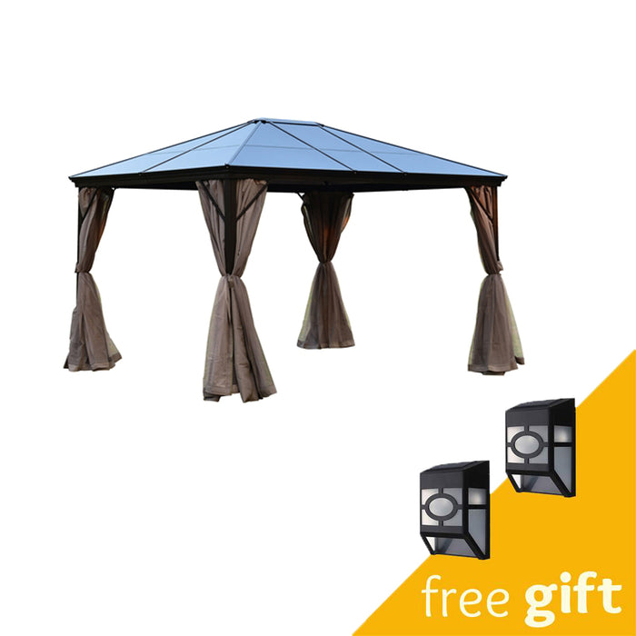 Aleko® Aluminum Hardtop Gazebo with Removable Mesh Walls - 10 x 12 Feet - Brown:Tuff Nest