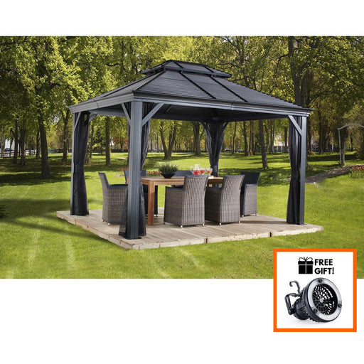 Tuff Nest, Sojag™ Mykonos II Hard Top Gazebo/Sun Shelter With Galvanized Steel Roof & Mosquito Netting, {variant_title]