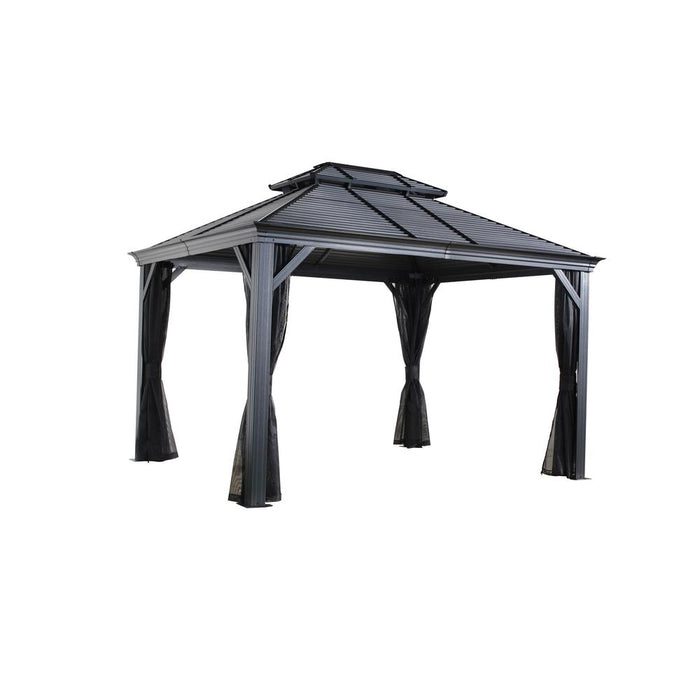 Sojag™ Mykonos II Hard Top Gazebo/Sun Shelter With Galvanized Steel Roof & Mosquito Netting:Tuff Nest