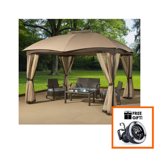 Sojag™ Phuket Soft Top Gazebo/Sun Shelter In Beige & Brown - Size 10'x12':Tuff Nest