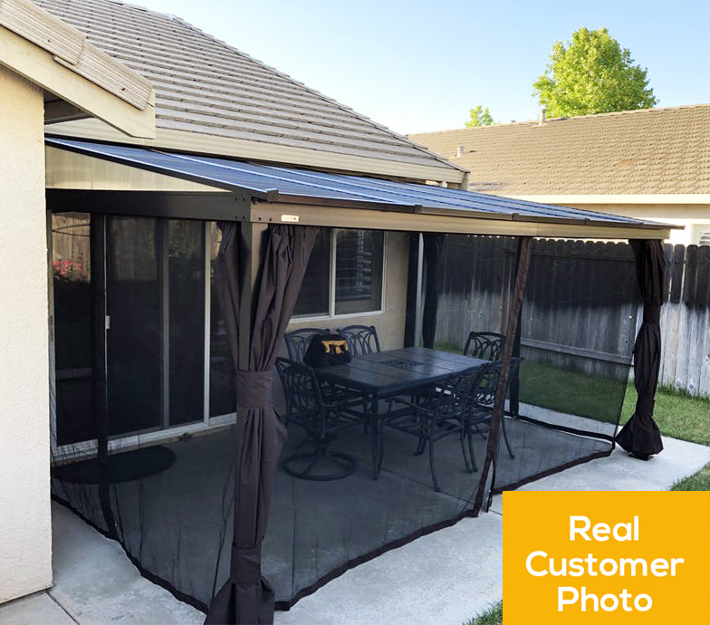 Sojag™ Portland Wall Mounted Gazebo with Galvanized Steel Roof and Mosquito Netting and Curtains:Tuff Nest