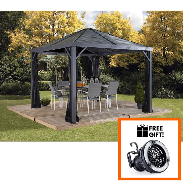 Sojag™ Sanibel Sun Shelter/Gazebo With Galvanized Steel Roof & Mosquito Screen - Size 10'x10':Tuff Nest