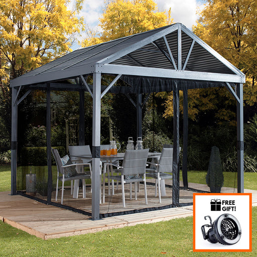 Tuff Nest, Sojag™ Sanibel I Sun Shelter/Gazebo With Galvanized Steel Roof and Nylon Mesh Screen, {variant_title]