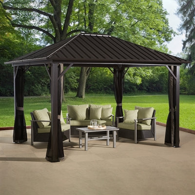 Tuff Nest, Sojag™ Genova Hard Top Gazebo/Sun Shelter With Galvanized Steel Roof & Mesh Screen, {variant_title]