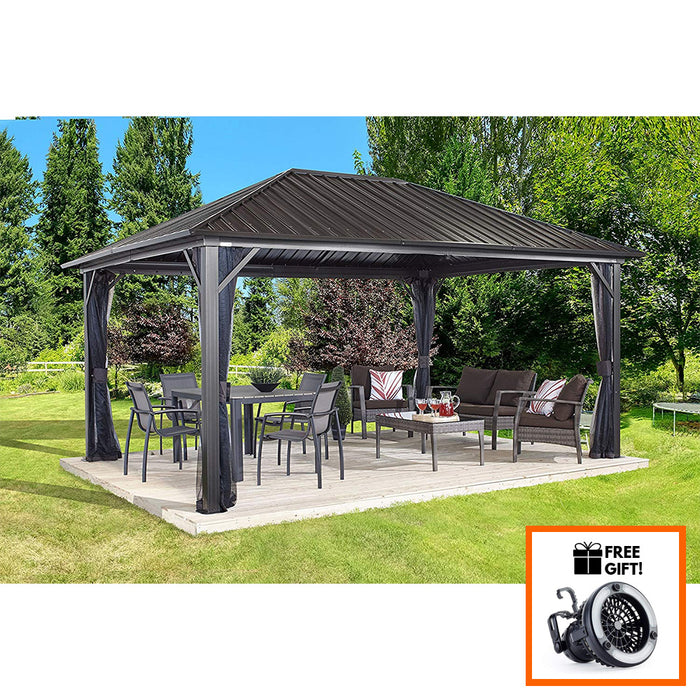 Tuff Nest, Sojag™ Genova Sun Shelter/Gazebo With Galvanized Steel Roof and Mesh Screen, {variant_title]